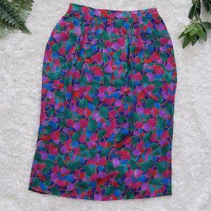 Vintage Adrianna Papell 100% Silk Pencil Skirt